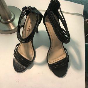 New AnneMichelle black open toe stilettos size 7